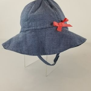 Carters Blue Sunhat With Pink Bow